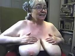 blonde granny plays natural