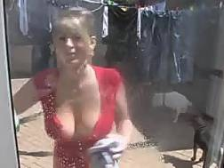 blond neighbour flashes melons