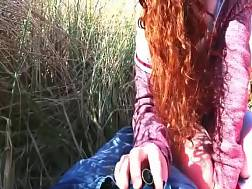 red-haired gf blowing cock