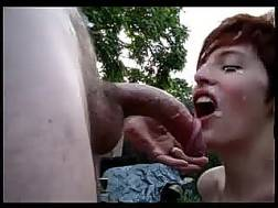 short-haired bitch blowing pecker