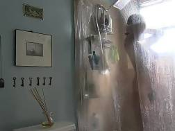 exposing unshaved pussy shower