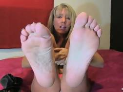 mother shows lovely feet
