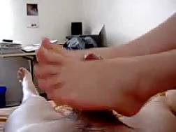 lovely demonstrates footjob skills
