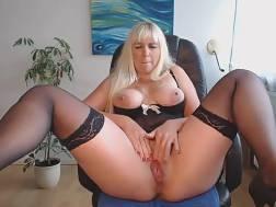 bosomy blondie black stockings