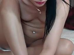 brunette gets naked masturbates
