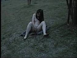one gals wanking outdoors