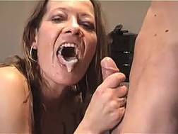 red-haired mom blow job