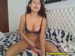 latina babe lingerie rides