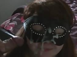 mask gets covered cum