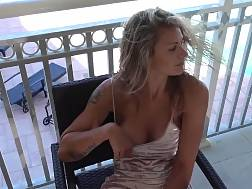 sexual spreading legs balcony