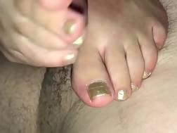 hot feet stroking penis