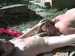 busty wife outdoor drill