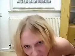 bosomy blond works cock