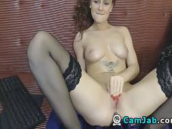 dark-haired nympho massages jugs