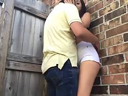 naughty girlfriend sucks outdoors
