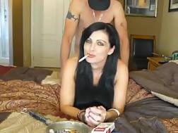 black haired mom smokes