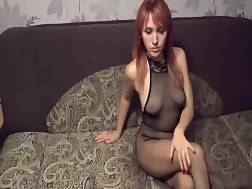red-haired hot lingerie making