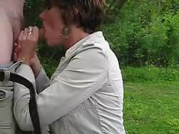 housewife blowjob pecker outdoors