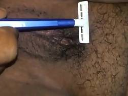 shaving wifes hairy snatch