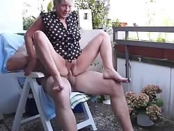 mature couple sex balcony