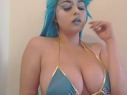 chick blue hair knockers