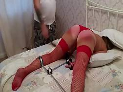 mature woman red stockings