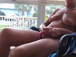 mature woman caught jerking