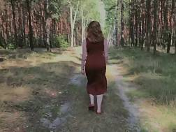 playful redhaired pissing forest