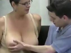 blonde mature helps young